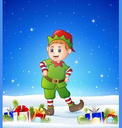 cartoon kid wearing elf costume in the winter back vector image