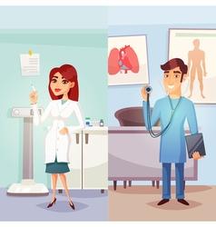 Cartoon medicine vertical banners vector