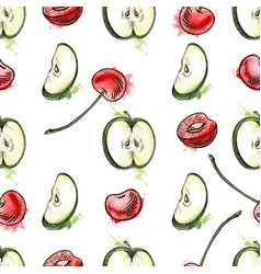 Cherry berries and apples seamless pattern vector