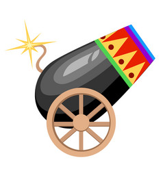 Circus design black cannon on wheels with burning vector