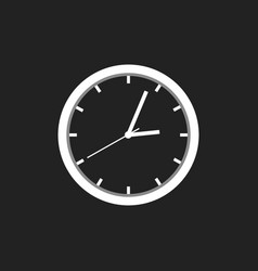Clock icon flat design on black background vector