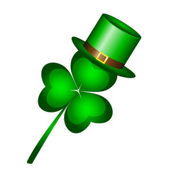 clover in a hat a cap is a symbol of st patrick s vector image