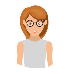 Colorful portrait half body of woman with glasses vector
