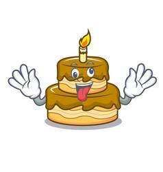 Crazy birthday cake mascot cartoon vector