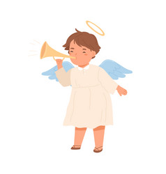 Cute angel with halo and wings blowing in trumpet vector