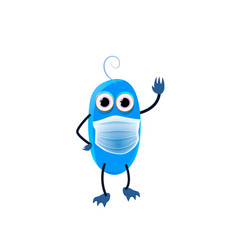 Cute blue monster waving hand childish cartoon vector