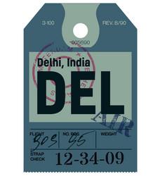 Delhi airline tag vector