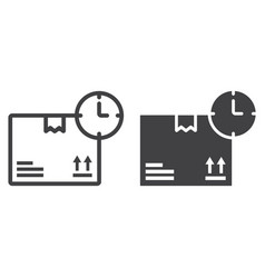 delivery time line and glyph icon logistic vector image