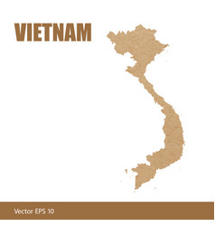 Detailed map of vietnam cut out of craft paper vector