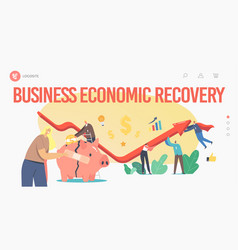 Economic recovery landing page template business vector