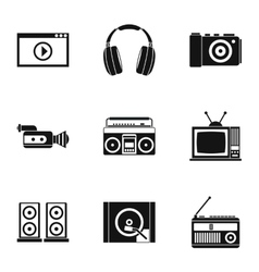Electronic devices icons set simple style vector