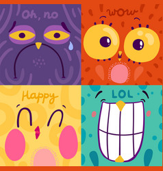 emotion stickers 2x2 concept vector image