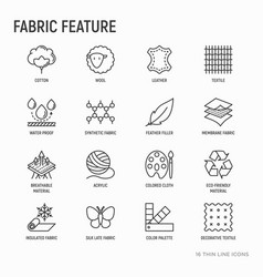 Fabric feature thin line icons set vector