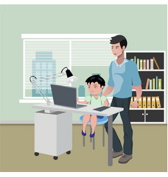 Father with son doing homework on desktop computer vector