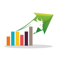 Financial concept bull chart arrow vector