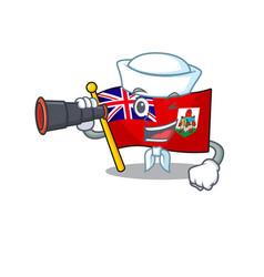Flag bermuda sailor holding binocular isolated vector