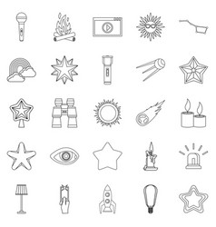 Flare icons set outline style vector