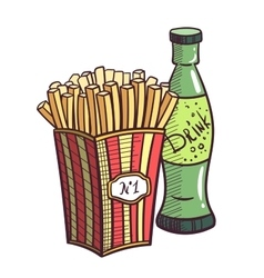 Fried Potatoes And Drink vector image