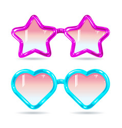 Glasses style disco glasses in the shape of hearts vector