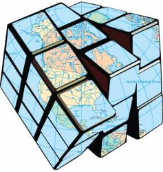 globe cube vector image