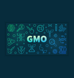 gmo colorful linear banner on dark vector image