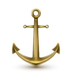 Golden Realistic Anchor vector image