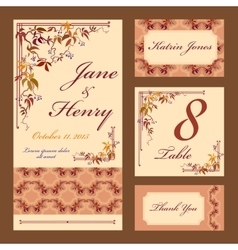 Grapevine wedding card set printable vector