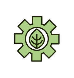 green leaf gear environment ecology line and fill vector image