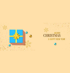 greetings card with gift box gold snowflakes and vector image