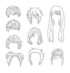 Hairstyle Man and Woman Line vector