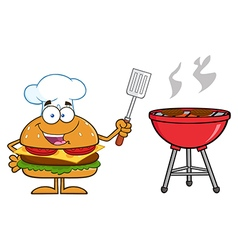 Hamburger Chef Cartoon Cooking a BBQ vector image