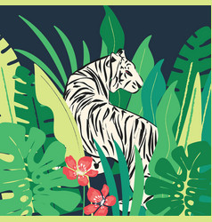 hand drawn white tiger with exotic plants vector image
