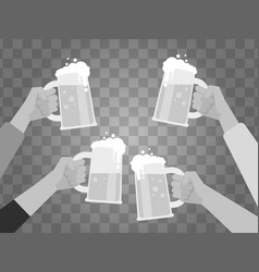 Hands holding beer glasses isolated on background vector