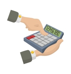 Hands with calculator icon cartoon style vector image