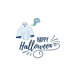 happy halloween postcard template spook character vector image