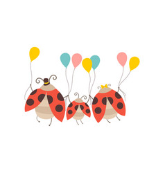 happy ladybug family cheerful mother father and vector image