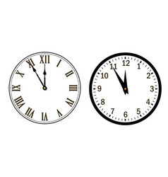Happy new year 2020 black clock arrows isolated vector