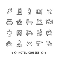 Hotel Icon Thin Line Set vector
