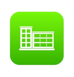 industrial factory building icon digital green vector image