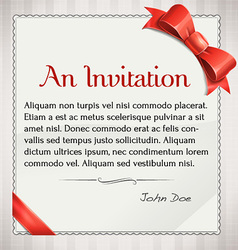 Invitaion With Red Bow And Ribbon vector image