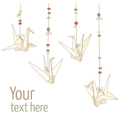 isolated hanging origami paper cranes vector image