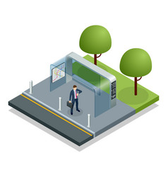 Isometric business man waiting bus at public bus vector