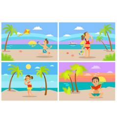 kids at beach seaside coastal vacations flat style vector image