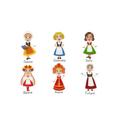 kids in traditional costumes set france germany vector image