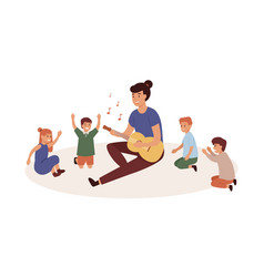 kindergartener with kids group flat vector image
