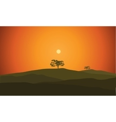 Landscape with silhouette vector