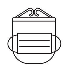 mask and face shield simple medicine icon vector image
