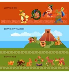 Maya banners set vector
