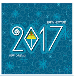 merry christmas and happy new year card blue vector image