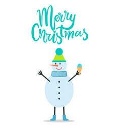 Merry christmas greeting card snowman winter hat vector